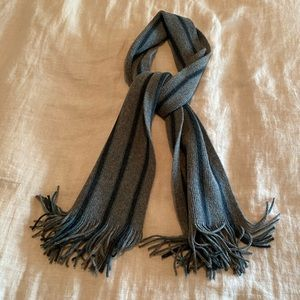 Gray Scarf with Black/Teal Stripes